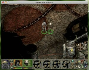Planescape: Torment game shot on a mac
